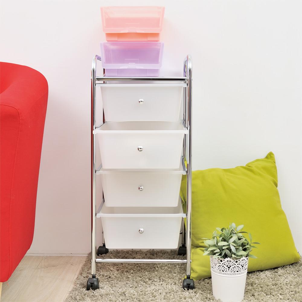 【ikloo】可移式四層抽屜收納箱/收納盒