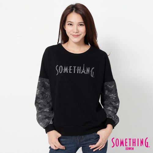 SOMETHING 蕾絲袖LOGO印花T恤-女-黑色
