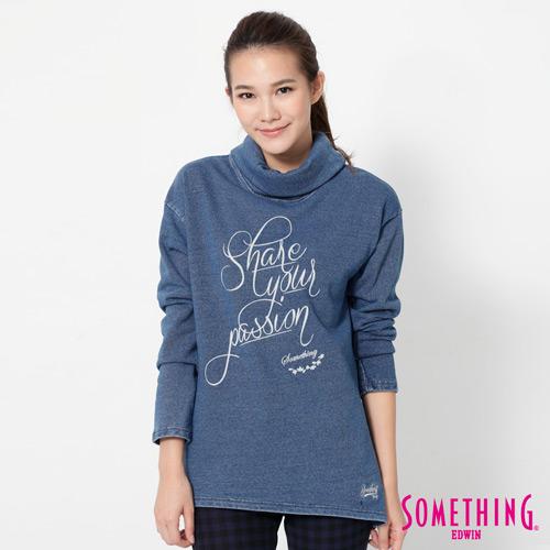 SOMETHING INDIGO高領T恤-女-漂淺藍