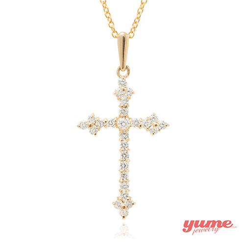 【YUME】K金古典十字架晶鑽項鍊