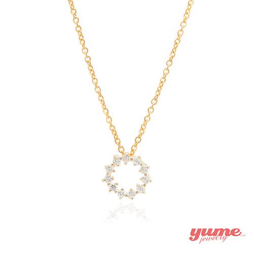 【YUME】K金甜甜圈晶鑽項鍊