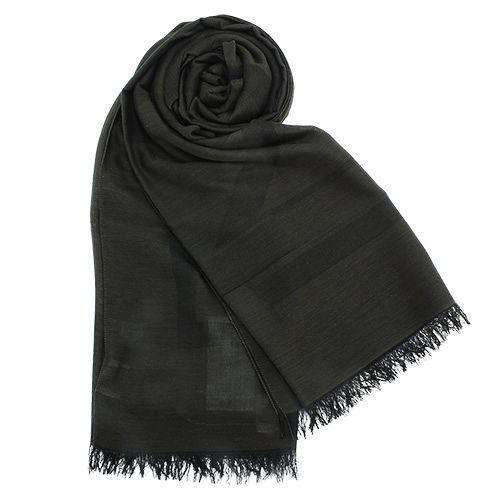 ARMANI COLLEZIONI 素面流蘇圍巾-墨綠色