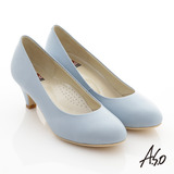 【A.S.O】通勤系列 全真皮素色窩心高跟鞋(淺藍)