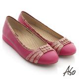 【A.S.O】A.S.O 活力勁步 全牛皮金箔壓紋鉚釘平底鞋(桃粉)