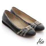 【A.S.O】A.S.O 活力勁步 全牛皮金箔壓紋鉚釘平底鞋(黑)
