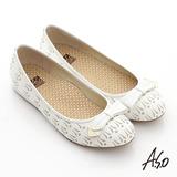 【A.S.O】活力勁步 全真皮金屬釦飾壓紋平底休閒鞋(白)