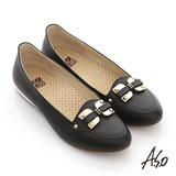 【A.S.O】活力勁步 全真皮蝴蝶釦環奈米平底鞋(黑)