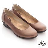 【A.S.O】舒適通勤 全牛皮素面氣墊休閒鞋(咖啡)