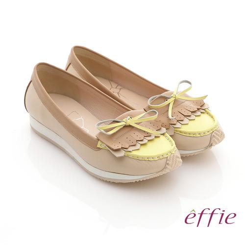 【effie】軟芯系列 全真皮流蘇軟墊平底休閒鞋(卡其)