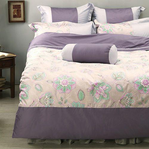 LITA麗塔 波隆那-紫花303織精梳棉床包薄被套枕套四件式-雙人加大