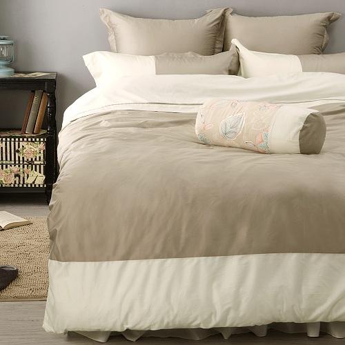 LITA麗塔 波隆那-米色303織精梳棉床包兩用被套枕套四件式-雙人加大