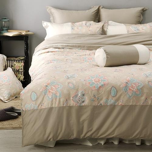 LITA麗塔 波隆那-米花303織精梳棉床包兩用被套枕套四件式-雙人加大
