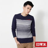 EDWIN 中段反面條剪接長袖T恤-男-丈青色