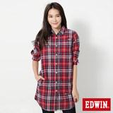 EDWIN 長版休閒襯衫-女-紅格紋