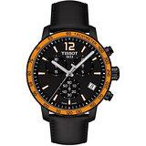 TISSOT T-Sport Quickster 競速運動計時腕錶-黑x橘框/42mm T0954173605701