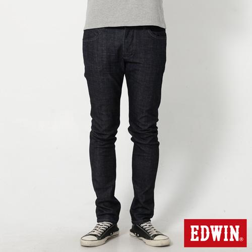 EDWIN 大尺碼 EDGE雙口袋窄直筒牛仔褲-男-原藍色