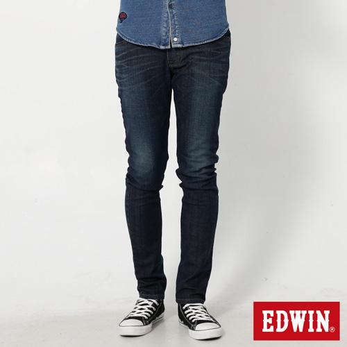 EDWIN 大尺碼 EDGE雙口袋窄直筒牛仔褲-男-石洗綠
