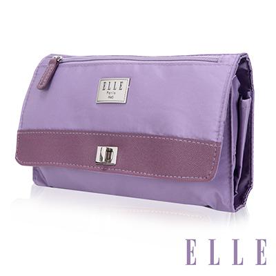 ELLE 法式優雅淑女 旅行掛勾 收納包 化妝包 盥洗包-淺紫色EL82352-24