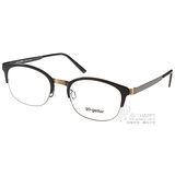 Go-Getter眼鏡 經典半框款(琥珀黑-銅) #GO2034 C01