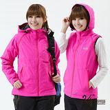 【遊遍天下】背心外套兩穿Globetex女款JIS90%羽絨防風防水機能羽絨外套(玫紅 品特)