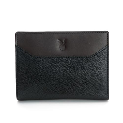 PLAYBOY- 古樸波士頓系列 零錢袋短夾-黑色