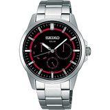 SEIKO 時尚型男太陽能全日曆腕錶 -黑桃紅(SBPV909J)