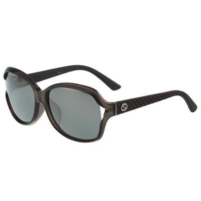 GUCCI- 時尚簍空低調 太陽眼鏡 (透明灰)