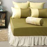 LITA麗塔 波隆那-綠色303織精梳棉床包枕套三件式-雙人