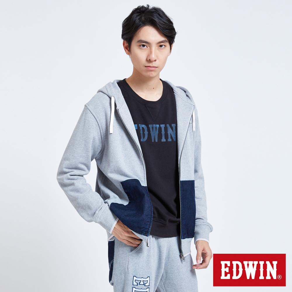 EDWIN 牛仔口袋連帽外套-男-麻灰色
