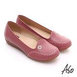 【A.S.O】舒適通勤 全真皮手工縫線奈米休閒鞋(粉紅)