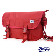 KANGOL 英式輕時尚休閒大空間郵差包防潑水尼龍包-活力紅KG1116