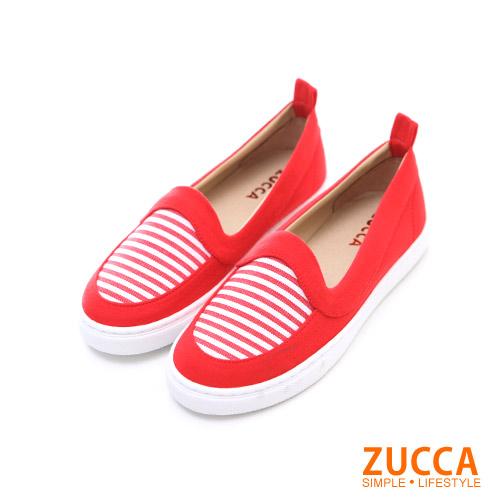 ZUCCA【Z5801RD】海軍風格條紋平底包鞋-紅色