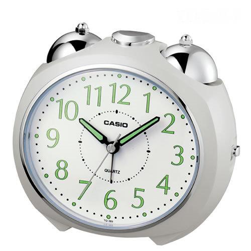 CASIO卡西歐 圓弧流線外型鬧鐘 -白面白殼  TQ-369-7D