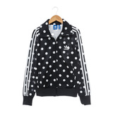 Adidas 女 棉質--運動外套-黑-AB2267
