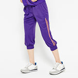 FIVE UP(女)-配色運動針織七分褲-紫
