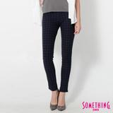 SOMETHING LADIVA格紋合身牛仔褲-女-灰藍色