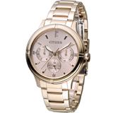 星辰 CITIZEN 光動能純靜之美時尚腕錶 FD2033-52W 玫瑰金色