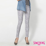SOMETHING LADIVA印花合身牛仔褲-女-葡紫色