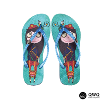 【QWQ】創意設計夾腳拖鞋-女海闖天下-藍(無鑽)
