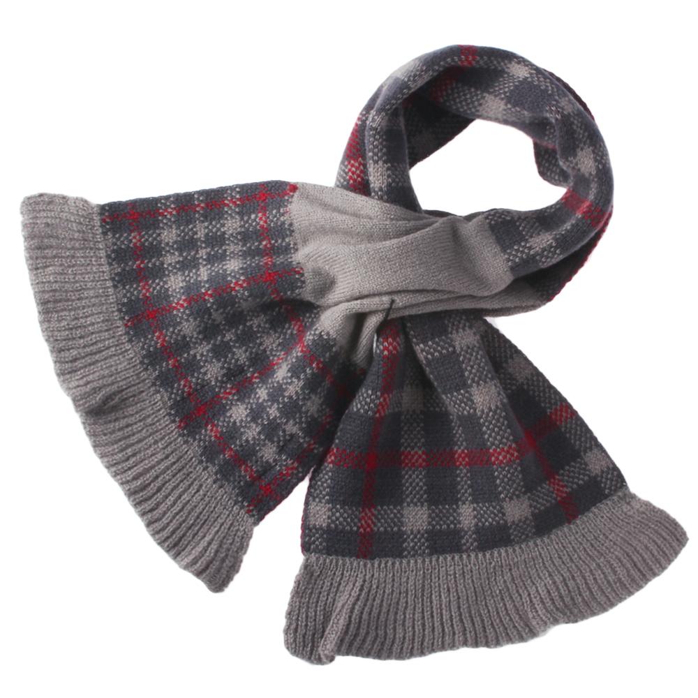 DAKS 經典格紋100%羊毛雙色圍巾-深紅色