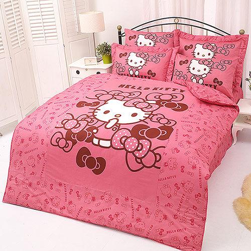 【享夢城堡】HELLO KITTY 我的小可愛系列-雙人純棉四件式兩用被床包組(粉)