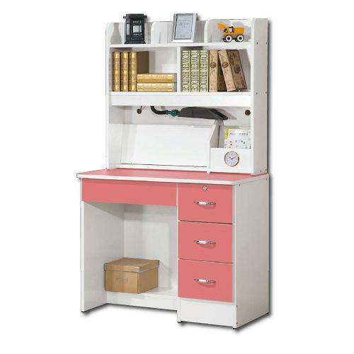 【AS】甜美粉桃3尺書桌全組