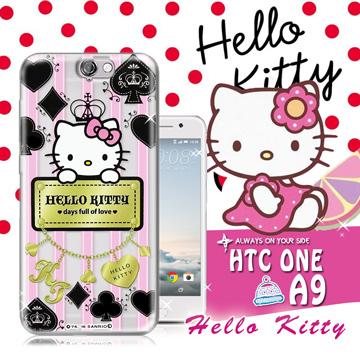 三麗鷗SANRIO授權正版 Hello Kitty凱蒂貓 HTC ONE A9 透明軟式保護套 手機殼(撲克牌)