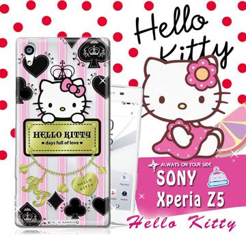 三麗鷗SANRIO授權正版 Hello Kitty凱蒂貓 Sony Xperia Z5 5.2吋 透明軟式保護套 手機殼(撲克牌)