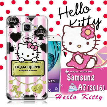 三麗鷗SANRIO授權正版 Hello Kitty凱蒂貓 Samsung Galaxy A7 (2016) / A710X 透明軟式保護套 手機殼(撲克牌)