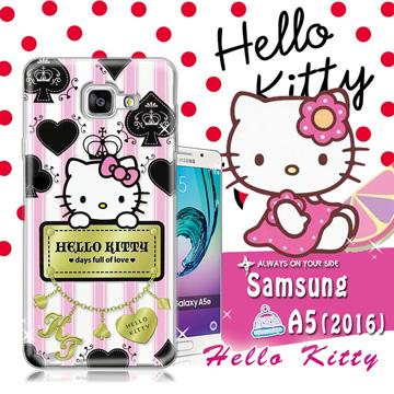 三麗鷗SANRIO授權正版 Hello Kitty凱蒂貓 Samsung Galaxy A5 (2016)  透明軟式保護套 手機殼(撲克牌)