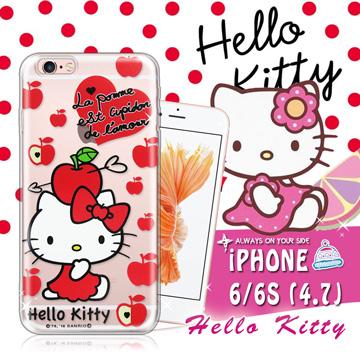 三麗鷗SANRIO授權正版 Hello Kitty凱蒂貓 iPhone 6/6s i6s 4.7吋 透明軟式保護套 手機殼(蘋果)
