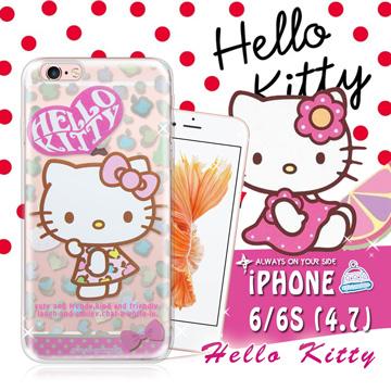 三麗鷗SANRIO授權正版 Hello Kitty凱蒂貓 iPhone 6/6s i6s 4.7吋 透明軟式保護套 手機殼(豹紋)