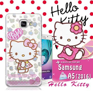 三麗鷗SANRIO授權正版 Hello Kitty凱蒂貓 Samsung Galaxy A5 (2016) 透明軟式保護套 手機殼(豹紋)