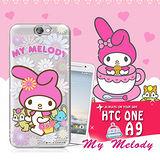 三麗鷗SANRIO授權正版 My Melody 美樂蒂 HTC ONE A9 透明軟式保護套 手機殼(郊遊)